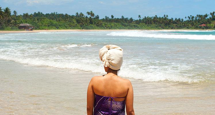 der Strand außerhalb der Ayurveda-Resort in Sri Lanka